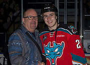 KELOWNA, CANADA - OCTOBER 28:  MacDermotts Presentation to Kyle Topping #24 of the Kelowna Rockets at the Kelowna Rockets game on October 28, 2017 at Prospera Place in Kelowna, British Columbia, Canada.  (Photo By Cindy Rogers/Nyasa Photography,  *** Local Caption ***