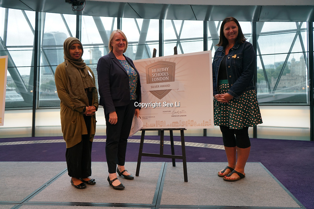 "City Hall, London, Uk, 29th June 2017. Chisenhale Primary, Columbia Primary School, John Scurr school, Clara Grant School, Bangabandhu ""silver Awards"" of the City Hall awards at the Health and education experts celebrate London's healthiest schools."