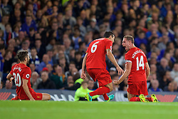 LONDON, ENGLAND - Friday, September 16, 2016: Liverpool's captain Jordan Henderson celebrates scoring the second goal against Chelsea with team-mate Dejan Lovren during the FA Premier League match at Stamford Bridge. (Pic by David Rawcliffe/Propaganda)