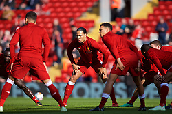 LIVERPOOL, ENGLAND - Saturday, April 14, 2018: Liverpool's Virgil van Dijk during the pre-match warm-up before the FA Premier League match between Liverpool FC and AFC Bournemouth at Anfield. (Pic by Laura Malkin/Propaganda)