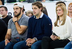 Gasper Kopitar, Anze Kopitar and his wife Ines during friendly basketball match between National Teams of Slovenia and Brasil at Day 2 of Telemach Tournament on August 22, 2014 in Arena Stozice, Ljubljana, Slovenia. Photo by Vid Ponikvar / Sportida
