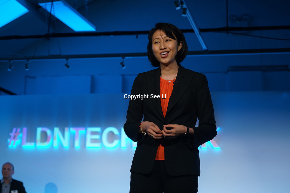London,England,UK : 20 th June 2016 :  Speaker Dr. Julia Fan Li of SVP AND Head Of UK and Seven Bridge Genomics at the London Technology Week 2016 opening press day at The Yard,Worship Street, London. Photo by See Li