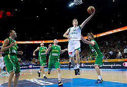 Zoran Dragic of Slovenia vs Simas Jasaitis of Lithuania during basketball game between National basketball teams of Slovenia and Lithuania at of FIBA Europe Eurobasket Lithuania 2011, on September 15, 2011, in Arena Zalgirio, Kaunas, Lithuania.  (Photo by Vid Ponikvar / Sportida)