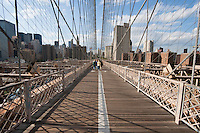 sunny day on brooklyn bridge in New York City October 2008