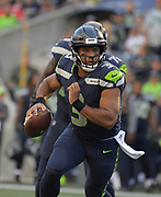 Aug 25, 2017; Seattle, WA, USA; Seattle Seahawks quarterback Russell Wilson (3) throws a pass against the Kansas City Chiefs during a NFL football game at CenturyLink Field. The Seahawks defeated the Chiefs 26-13.