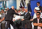 Israeli Prime Minister Benjamin (Binyamin) Bibi Netanyahu at the arrival of the new Israeli Navy INS Tannin (Dolphin class) submarine from Germany in Haifa on September 23 2014