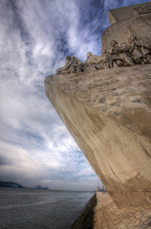 The Monument of the Discoveries on the Lisbon waterfront in Belem, facing the river Targus as it leads to the Atlantic. The procession of statutes  celebrates the father of ocean-going navigation, Prince Henry the Navigator.