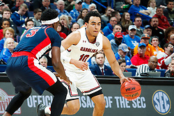 ST. LOUIS, Mo., -- Game 02 of the 2018 SEC Men's Basketball Tournament played between Ole Miss and South Carolina, Wednesday, March 07, 2018 at the Scott Trade Center in ST. LOUIS. South Carolina forward Justin Minaya.