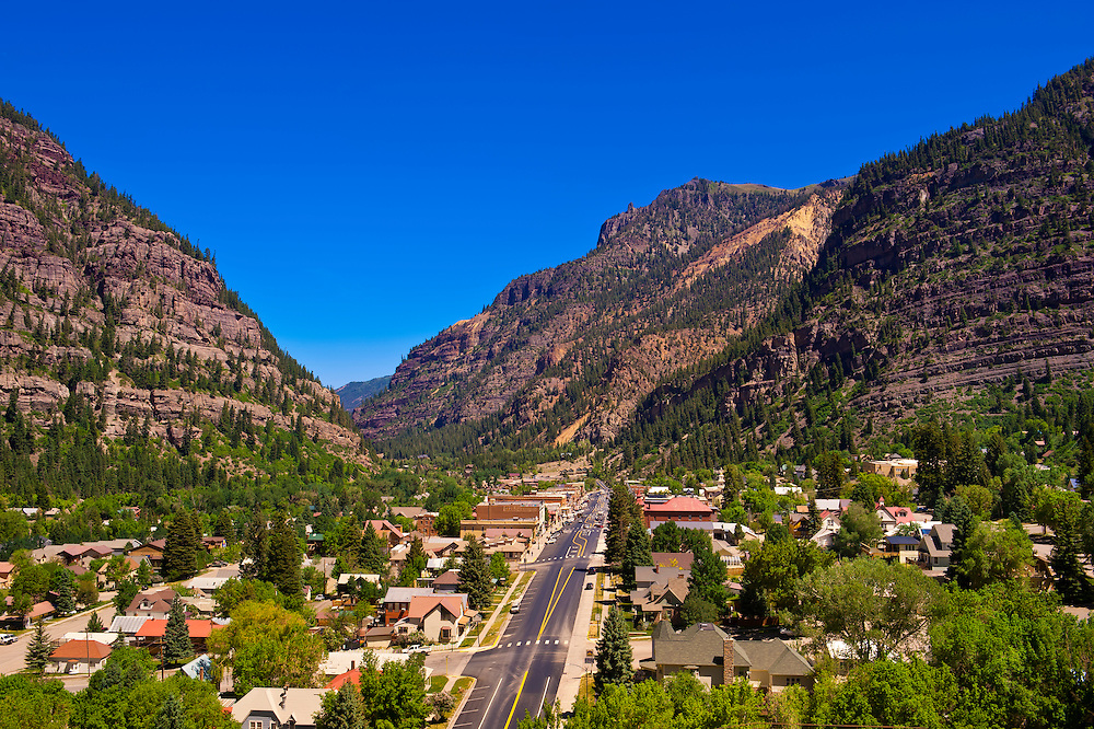 Overview of Main Street, Ouray, Colorado USA