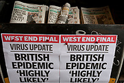 As the Coronovirus pandemic takes hold across the UK, with health authorities reporting cases rising from 25 to 87 in a single day, and resulting in the UK's chief medical officer Prof Chris Whitty announcing that an epidemic in the UK was 'highly likely', a pile of Evening Standard newspapers await readers at Victoria in central London, on 4th March 2020, in London, England.