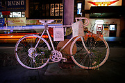 "Manhattan, New York, USA, 20080314:   Several ""ghostbikes"" are placed on and around Manhattan as memorials over bike riders killed in traffic in New York. The bikes, painted white, are variously decorated, with a placard commemorating the deceased.<br /> In memory of Sam Hindy.<br /> Photo: Orjan F. Ellingvag/ Dagens Naringsliv/ Corbis"