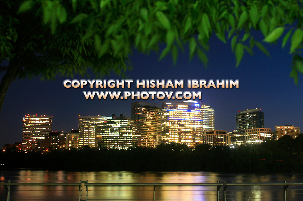 The Skyline of Rosslyn in Arlington County, and the Potomac River at night, Virginia, USA
