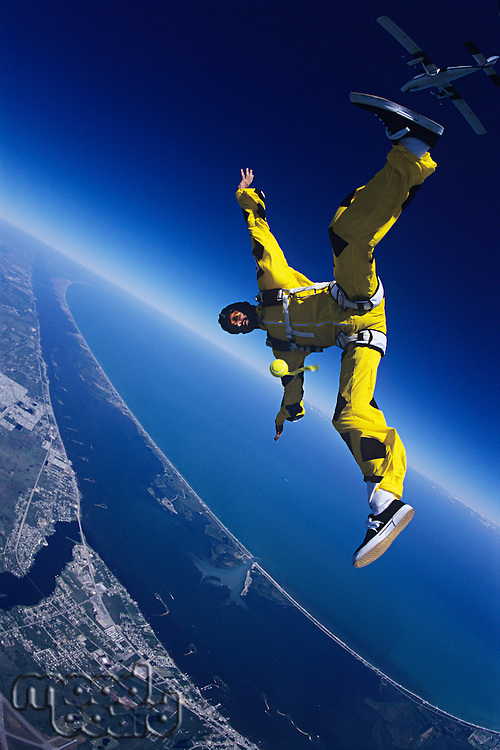 Skydiver free falling portrait