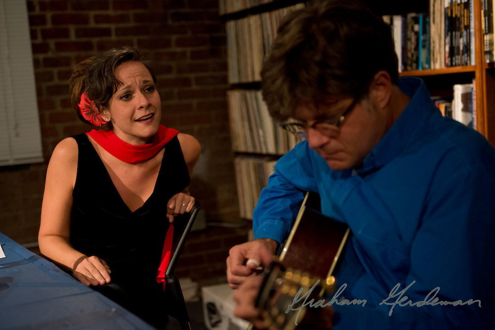Jazz Vocalist Annie Sellick and guitarist (and husband) Pat Bergeson practice a tune before going on at the Nashville Jazz Workshop.