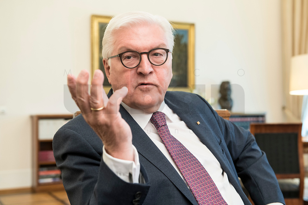 02 JUL 2018, BERLIN/GERMANY:<br /> Frank-Walter Steinmeier, Bundespraesident, waehrend einem Interview, Amtszimmer des Bundespraesidenten, Schloss Bellevue<br /> IMAGE: 20180702-01-003<br /> KEYWORDS: Bundespräsident