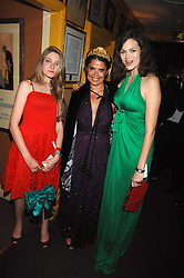 Left to right, CELESTE GUINNESS, DANIELLA HELAYEL and JASMINE GUINNESS at a dinner hosted by fashion label Issa at Annabel's, Berekely Square, London on 24th April 2007.<br />