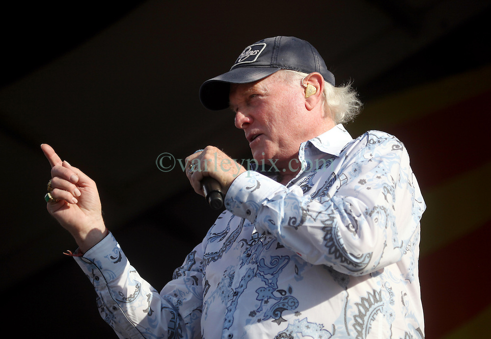 27 April 2012. New Orleans, Louisiana,  USA. .New Orleans Jazz and Heritage Festival. .The Beach Boys take to the stage to kick off their 50th anniversary tour. Mike Love on stage..Photo; Charlie Varley.