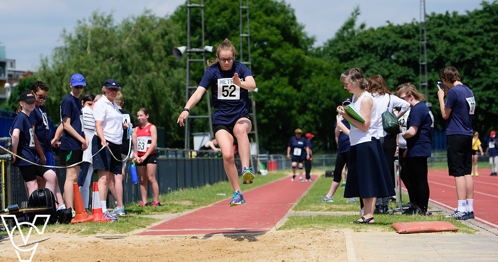 Metro Blind Sport's 2017 Athletics Open held at Mile End Stadium.  Long jump.  Rebecca Blakey<br /> <br /> Picture: Chris Vaughan Photography for Metro Blind Sport<br /> Date: June 17, 2017