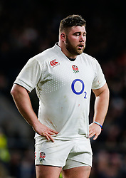 replacement Kieran Brookes looks dejected after England win the match but come up just 6 points short of winning the Six Nations Championship - Photo mandatory by-line: Rogan Thomson/JMP - 07966 386802 - 21/03/2015 - SPORT - RUGBY UNION - London, England - Twickenham Stadium - England v France - 2015 RBS Six Nations Championship.