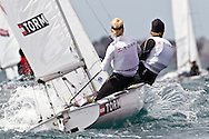 ENGLAND, Weymouth. 9th August 2011. Pre Olympic Test Event. Henrik Rask Sogaard (helmsman) and Tobias Maduro Norbo, Dinghy, 470 Denmark