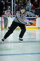 KELOWNA, BC - JANUARY 31: Linesman Dustin Minty enters the ice for third period at the Kelowna Rockets against the Spokane Chiefs at Prospera Place on January 31, 2020 in Kelowna, Canada. (Photo by Marissa Baecker/Shoot the Breeze)