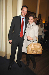 The HON.EDWARD TOLLEMACHE and MISS SOPHIE JOHNSTONE at a lecture about a record-breaking trip by Kiting to the Centre of Antarctica by Henry Cookson, Rupert Longsdon and Rory Sweet held at the Royal Geographical Society on 31st October 2007.<br />