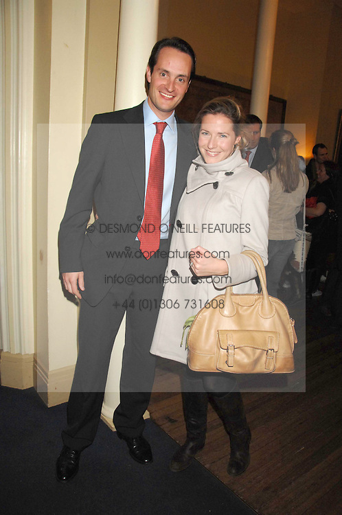 The HON.EDWARD TOLLEMACHE and MISS SOPHIE JOHNSTONE at a lecture about a record-breaking trip by Kiting to the Centre of Antarctica by Henry Cookson, Rupert Longsdon and Rory Sweet held at the Royal Geographical Society on 31st October 2007.<br /><br />NON EXCLUSIVE - WORLD RIGHTS
