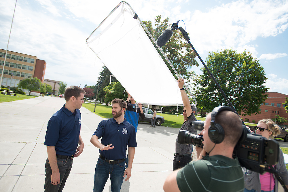 Joe Bereta and Luke Barats of the comedy duo Barats and Bereta film a short video on campus for Gonzaga's 125th Anniversary celebration. <br />