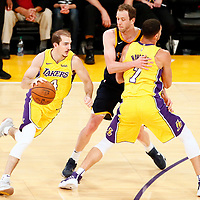 10 October 2017: Los Angeles Lakers guard Alex Caruso (4) drives past Utah Jazz forward Joe Ingles (2) on a screen set by Los Angeles Lakers forward Larry Nance Jr. (7) during the Utah Jazz 105-99 victory over the LA Lakers, at the Staples Center, Los Angeles, California, USA.