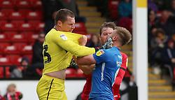Tempers flare between Chris Dunn of Walsall and Matt Godden of Peterborough United - Mandatory by-line: Joe Dent/JMP - 27/04/2019 - FOOTBALL - Banks's Stadium - Walsall, England - Walsall v Peterborough United - Sky Bet League One