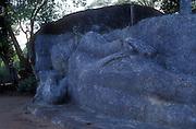 Buduruwayaya Ruins.<br /> Reclining Buddha statue in stone.