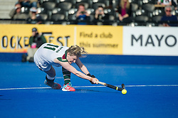 Surbiton's Hollie Webb. Holcombe v Surbiton - Investec Women's Hockey League Final, Lee Valley Hockey & Tennis Centre, London, UK on 23 April 2017. Photo: Simon Parker