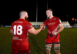 Ed Holmes of Bristol Rugby is congratulated by James Lay of Bristol Rugby after completing his debut - Mandatory by-line: Robbie Stephenson/JMP - 06/04/2018 - RUGBY - The Bay - Nottingham, England - Nottingham Rugby v Bristol Rugby - Greene King IPA Championship