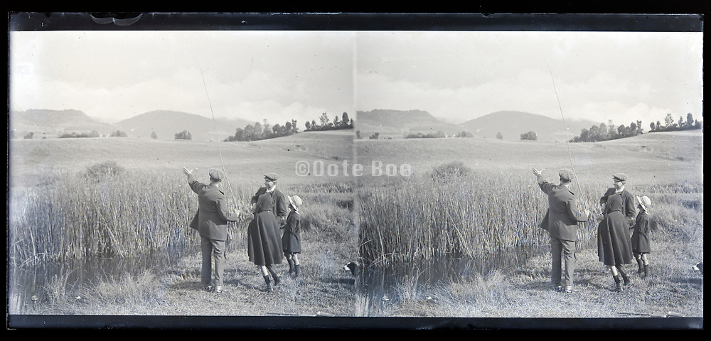 idyllic landscape with people France circa 1920s