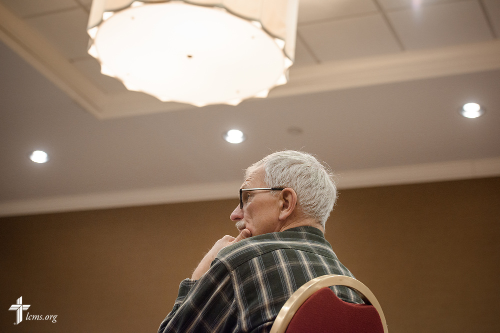 An attendee listens during the Operation Barnabas conference event on Thursday, March 15, 2018, at the Hilton St. Louis Airport hotel in St. Louis. LCMS Communications/Erik M. Lunsford