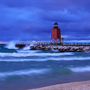 &quot;Waves Upon Charlevoix&quot;<br /> <br /> Scenic long exposure at the beautiful red lighthouse in Charlevoix Michigan during a storm at sunset!!<br /> <br /> Lighthouses of the Great Lakes by Rachel Cohen