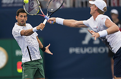 TORONTO, Aug. 7, 2018  Novak Djokovic (L) of Serbia and Kevin Anderson of South Africa compete during the frist round of men's doubles match against Denis ShapovalovFelix Auger-Aliassime of Canada at the 2018 Rogers Cup in Toronto, Canada, Aug. 6, 2018. Novak Djokovic and Kevin Anderson won 2-0. (Credit Image: © Xinhua via ZUMA Wire)