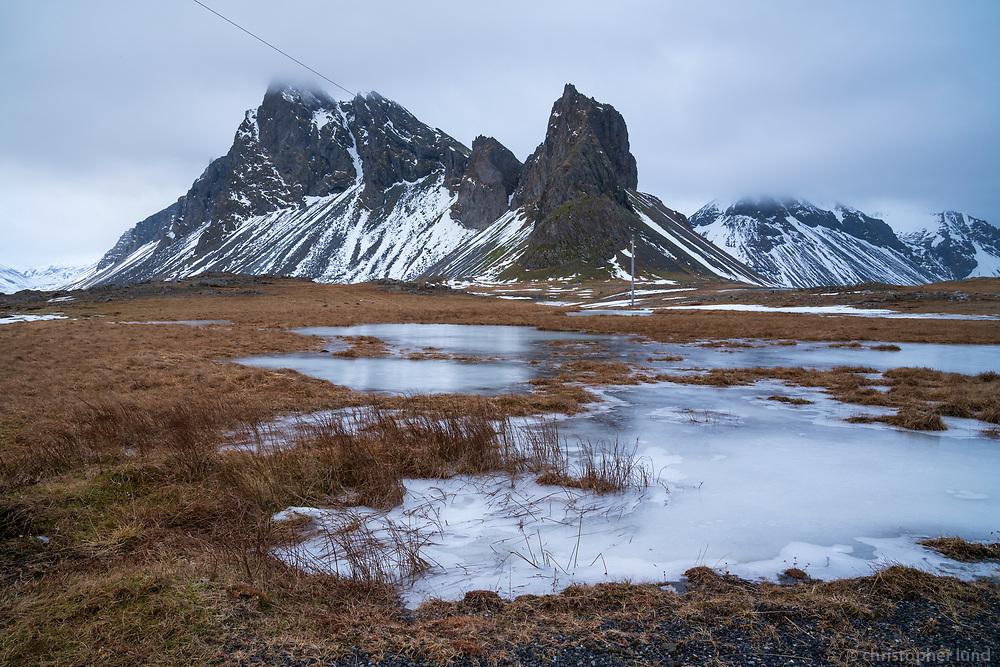Hvalnes and Mount Eystrahorn in winter. East Iceland.