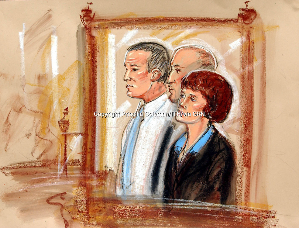 ©PRISCILLA COLEMAN (ITN NEWS).SEPPLIED BY PHOTONEWS SERVICE LTD.PIC SHOWS: ARTIST IMPRESSION OF IAN HUNTLEY AND MAXINE CARR IN THE DOCK OF COURT NO.1 AT THE OLD BAILEY TODAY 16.04.03 WHERE THEY BOTH PLEADED NOT GUILTY TO CHARGES RELATING TO THE MURDERS OF HOLLY WELLS AND JESSICA CHAPMAN