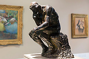 Auguste Rodin THE THINKER famous 1880 bronze sculpture in French Gallery at Ordrupgaard Museum of Art near Copenhagen, Denmark