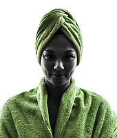 one woman wrapped in towel portrait in silhouette on white background