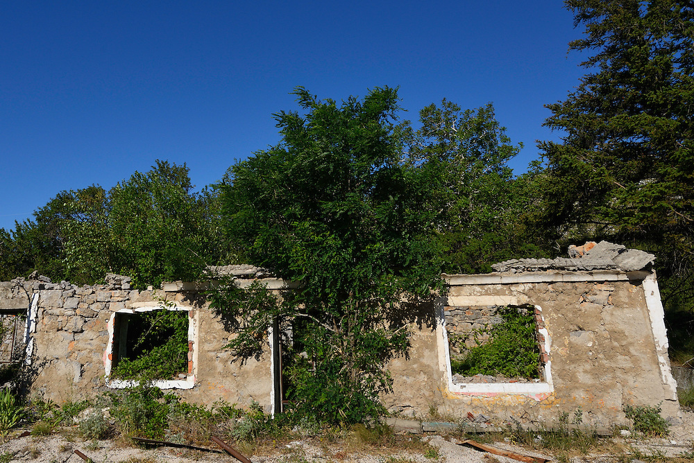 House ruins, abandoned since the Balkan war  1991-1995, Velebit Nature Park, Rewilding Europe rewilding area, Velebit  mountains, Croatia