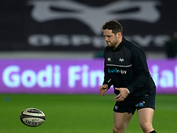 Ospreys' Dan Evans during the pre match warm up<br /> <br /> Photographer Simon King/Replay Images<br /> <br /> Guinness PRO14 Round 19 - Ospreys v Leinster - Saturday 24th March 2018 - Liberty Stadium - Swansea<br /> <br /> World Copyright © Replay Images . All rights reserved. info@replayimages.co.uk - http://replayimages.co.uk
