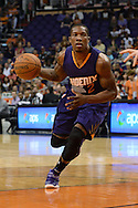 Oct 16, 2014; Phoenix, AZ, USA; Phoenix Suns guard Eric Bledsoe (2) drives the ball against the San Antonio Spurs in the first half at US Airways Center. Mandatory Credit: Jennifer Stewart-USA TODAY Sports