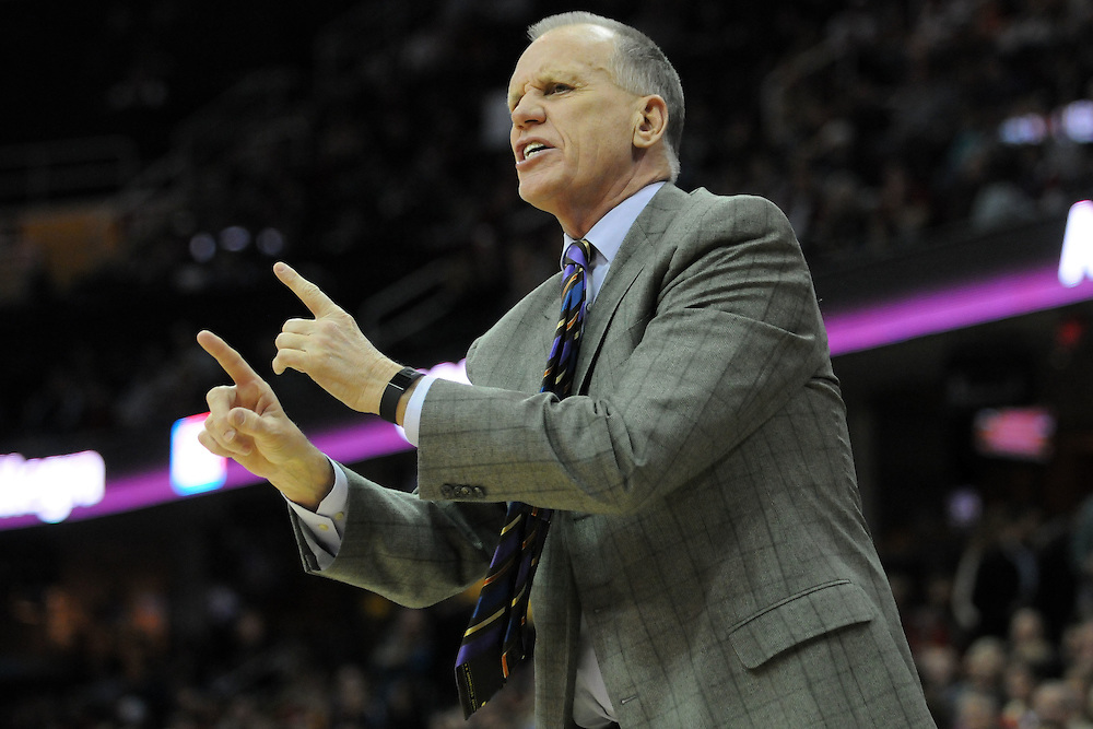 Feb. 27, 2011; Cleveland, OH, USA; Philadelphia 76ers head coach Doug Collins talks to his players during the first quarter against the Cleveland Cavaliers at Quicken Loans Arena. Mandatory Credit: Jason Miller-US PRESSWIRE