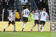 Derby County Tom Lawrence scores a goal and celebrates 1-0 during the EFL Sky Bet Championship match between Derby County and Huddersfield Town at the Pride Park, Derby, England on 15 February 2020.