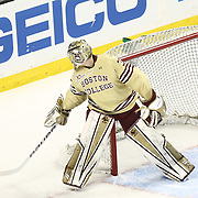 Thatcher Demko #30 of the Boston College Eagles tracks the puck during The Beanpot Championship Game at TD Garden on February 10, 2014 in Boston, Massachusetts. (Photo by Elan Kawesch)