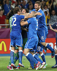 The Italy team Team celebrate after beating England during the Italy V England Quarter-finals in the Euro 2012, Sunday June 24, 2012, in Kiev, Ukraine. Photo By Imago/i-Images