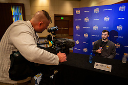 Michigan Wolverines tight end Sean McKeon speaks with the media at the Hyatt Regency on Monday, December 24, 2018 in Atlanta. Michigan will face Florida in the 2018 Peach Bowl on December 29, 2018. (Jason Parkhurst via Abell Images for the Chick-fil-A Peach Bowl)