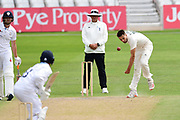 Tom Barber of Nottinghamshire bowling during the Bob Willis Trophy match between Nottinghamshire County Cricket Club and Derbyshire County Cricket Club at Trent Bridge, Nottingham, United Kingdon on 4 August 2020.